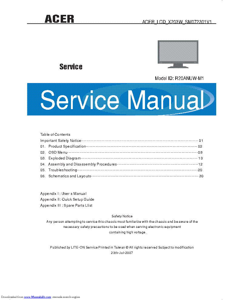 Acer X203w Sm072301v1 Lcd Monitor Service Manual Download