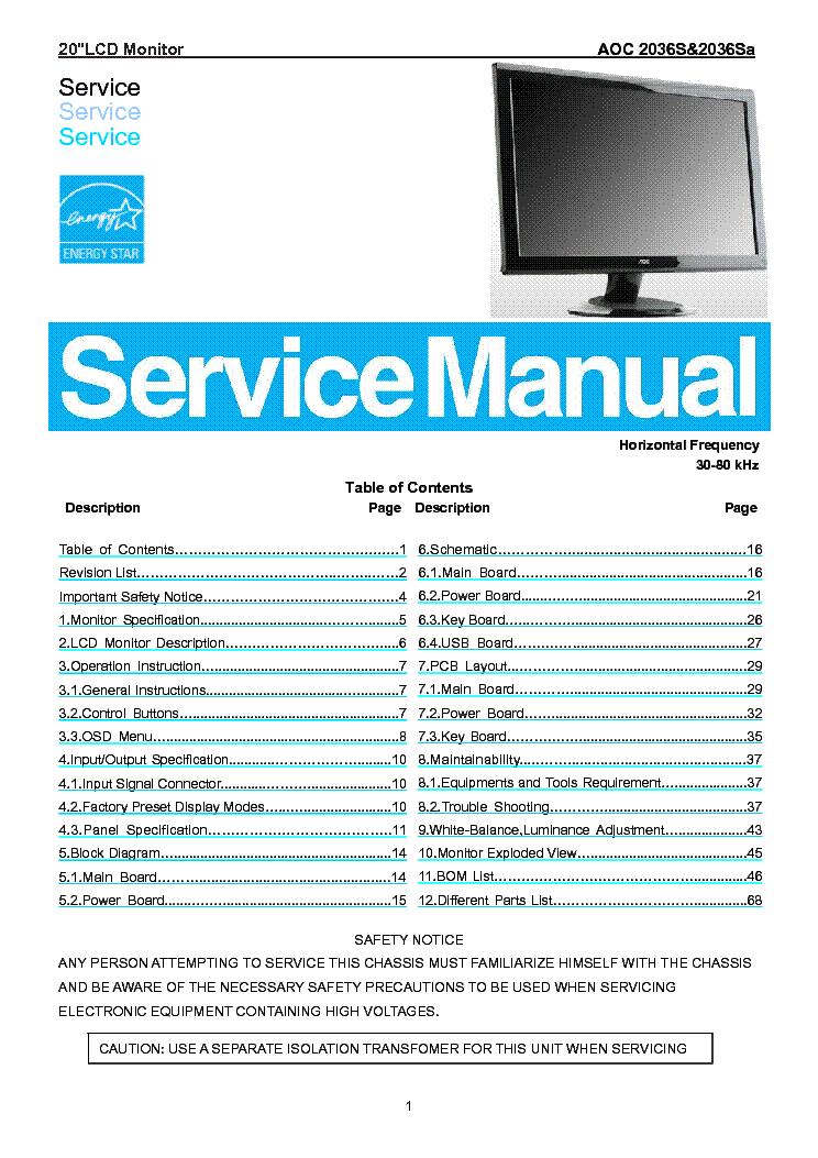 aoc 2036s 2036sa lcd monitor service manual download schematics rh elektrotanya com AOC e950Swn Manual Adjust AOC Monitor