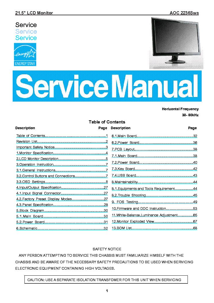 aoc spectrum 7vlr 7vlra user sch service manual download schematics rh elektrotanya com