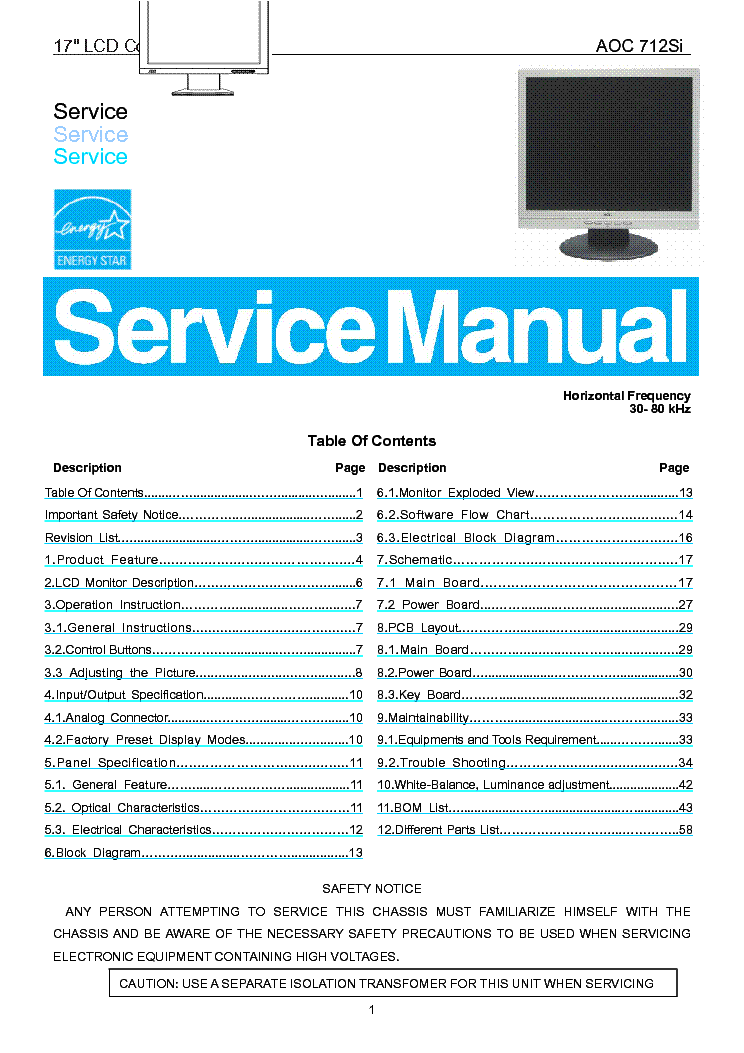 Service manual sharp 1118