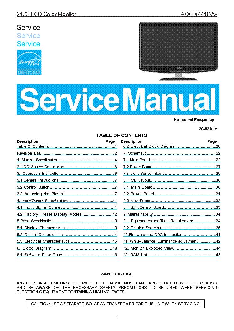 aoc e2240vw lcd monitor service manual download schematics eeprom rh elektrotanya com