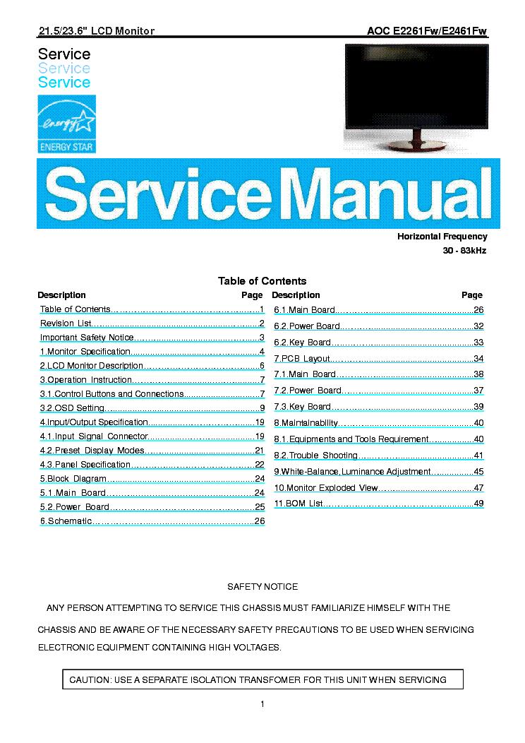 Aoc E2261fw E2461fw Lcd Monitor Service Manual Download  Schematics  Eeprom  Repair Info For