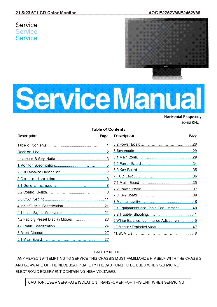 AOC E2262VW E2462VW LCD MONITOR service manual
