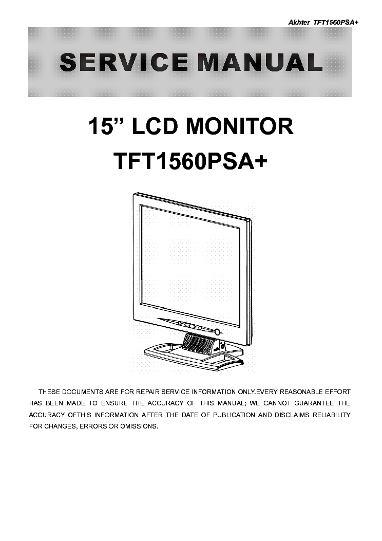 aoc tft1560psa lcd monitor service manual download  schematics  eeprom  repair info for