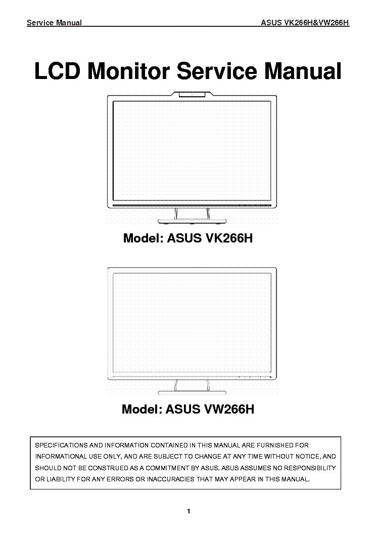 asus vk266h vw266h sm service manual download  schematics