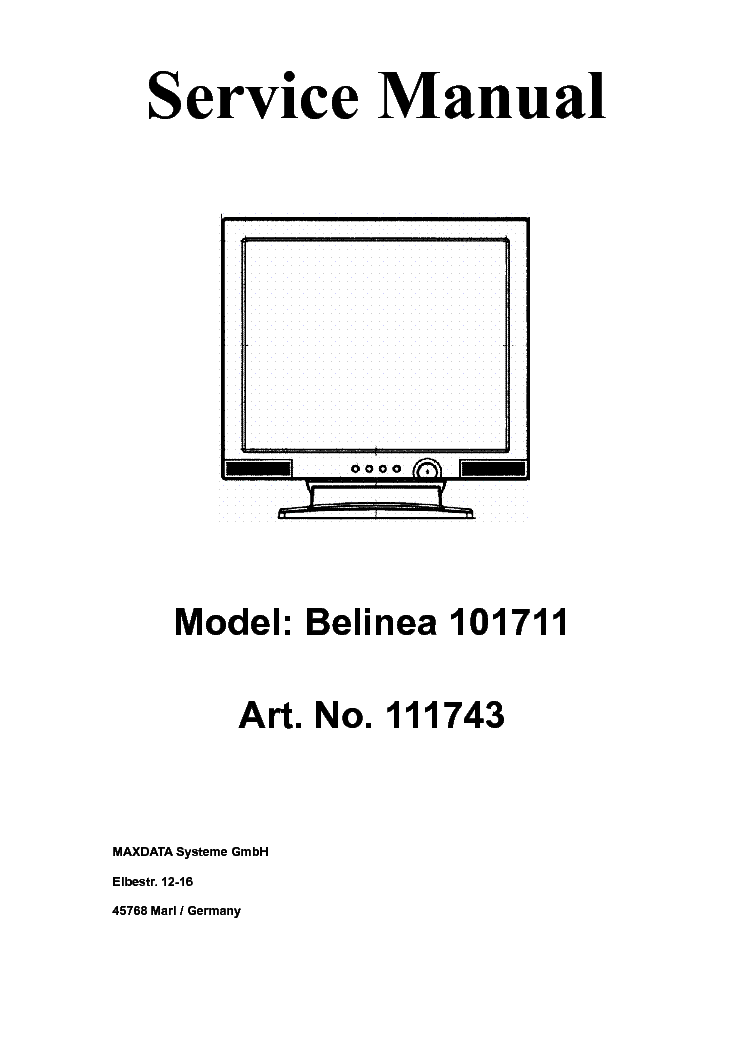 belinea 101711 111743 lcd monitor service manual download  schematics  eeprom  repair info for