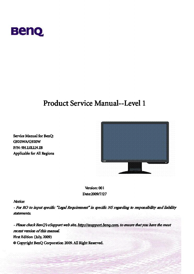 benq g920wa g920w service manual service manual download schematics rh elektrotanya com