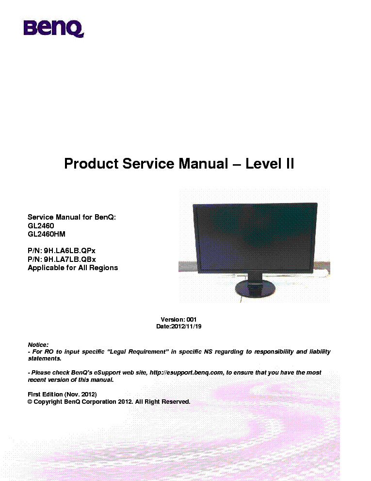 benq gl  level  version  service manual free download, schematic