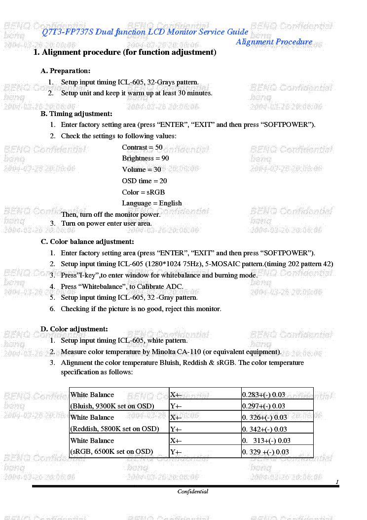 BENQ Q7T3-FP-737 SM service