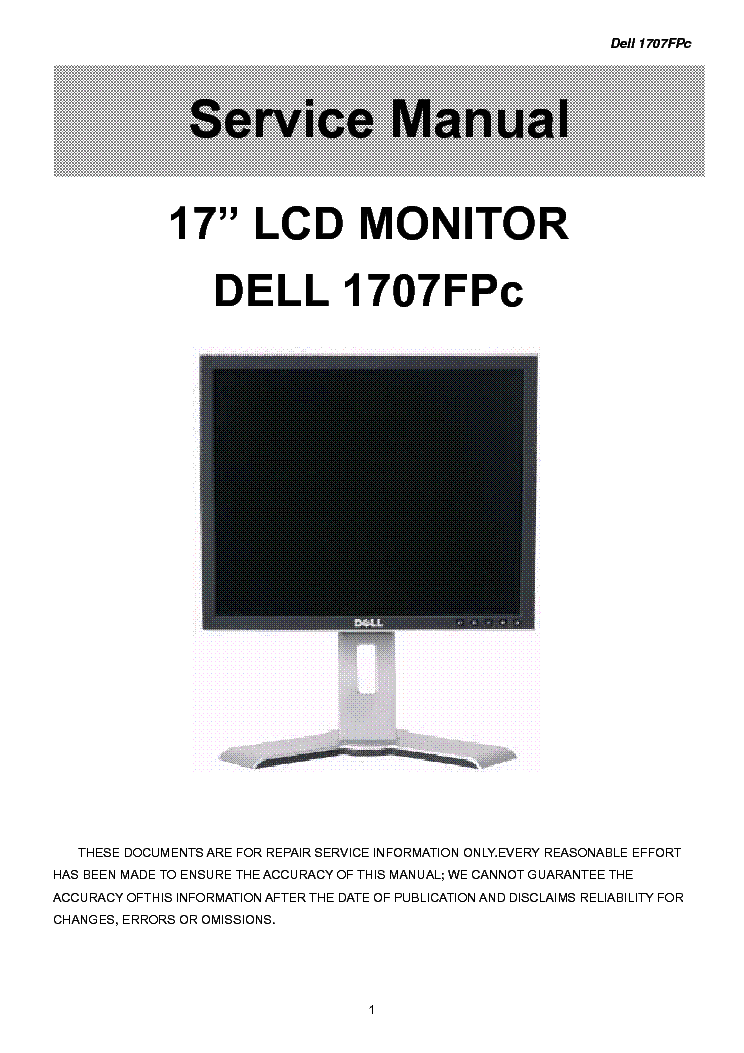 Dell 1707fpc Lcd Monitor Service Manual Download  Schematics  Eeprom  Repair Info For