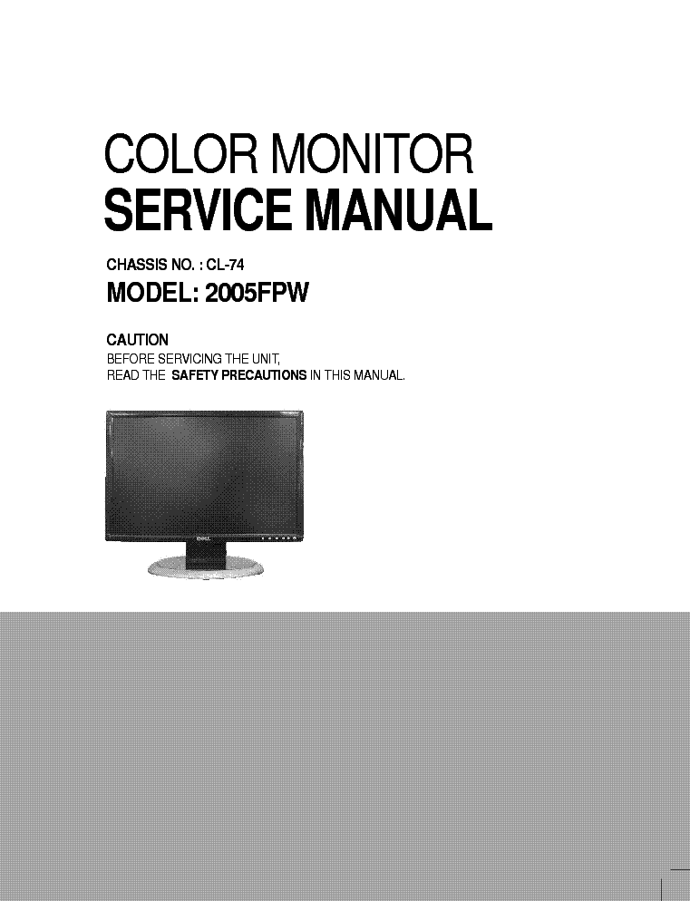 DELL 2005FPW CHASSIS CL-74 SM service manual (1st page)