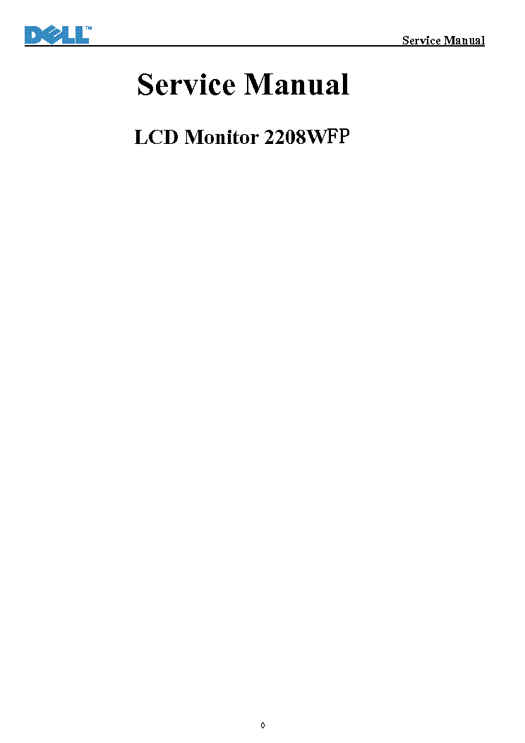 DELL 2208WFP VER.1.0 LCD MONITOR service manual (1st page)