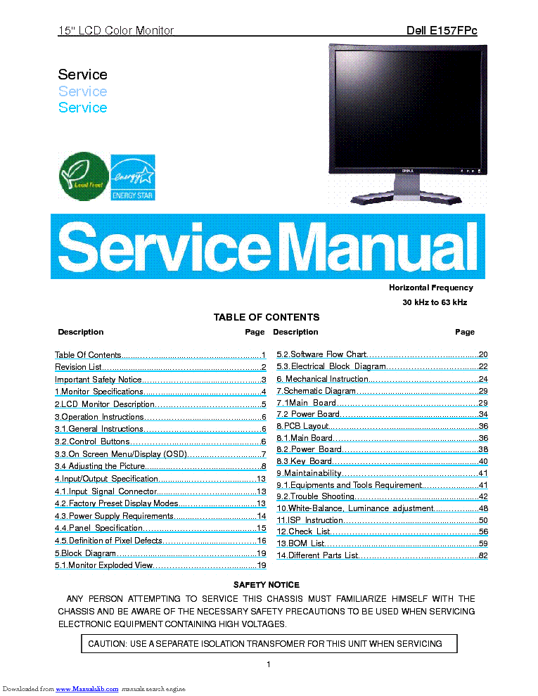 DELL E157FPC LCD MONITOR Service Manual download, schematics, eeprom on benq monitor schematic, camera schematic, delta monitor schematic, vga cable schematic, computer schematic, acer monitor schematic,