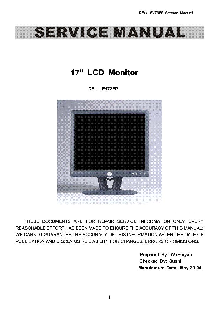 Dell E173fp Lcd Monitor Service Manual Download