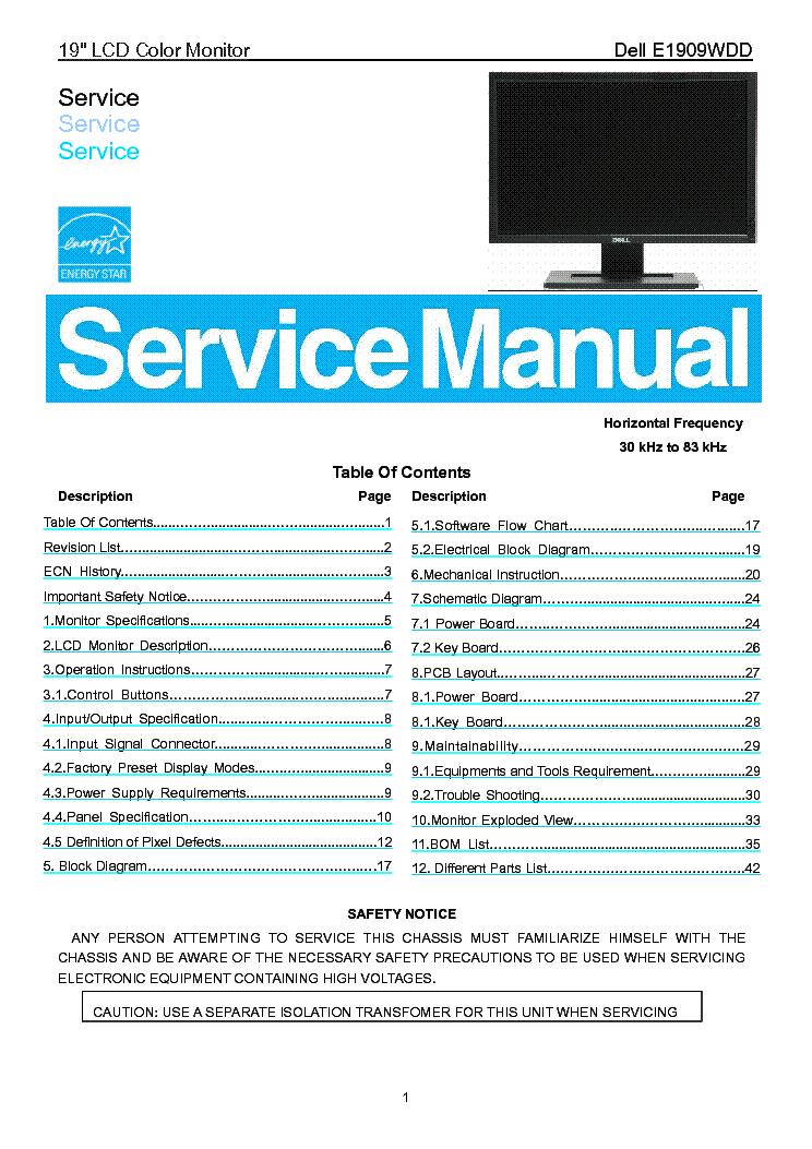 dell e1909wdd lcd monitor service manual download schematics rh elektrotanya com dell monitors service manual 2007fpb dell lcd monitor service manual