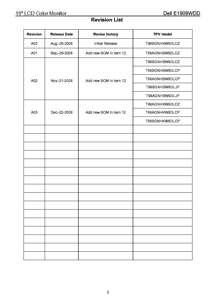 DELL E1909WDD LCD MONITOR Service Manual download, schematics
