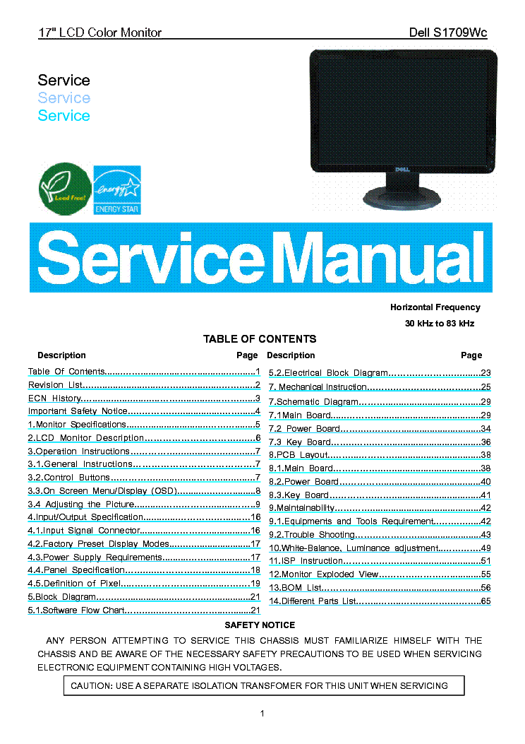 Dell S1709wc 17inch Lcd Monitor Service Manual Download  Schematics  Eeprom  Repair Info For