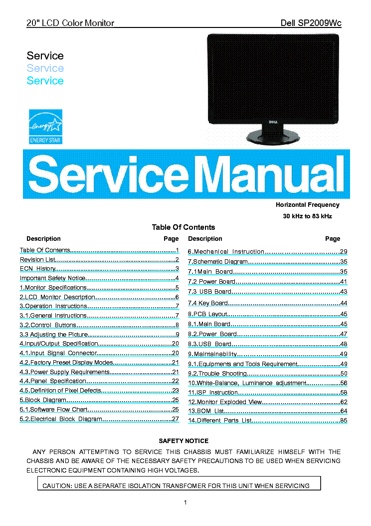 DELL SP2009WC SM service manual (1st page)