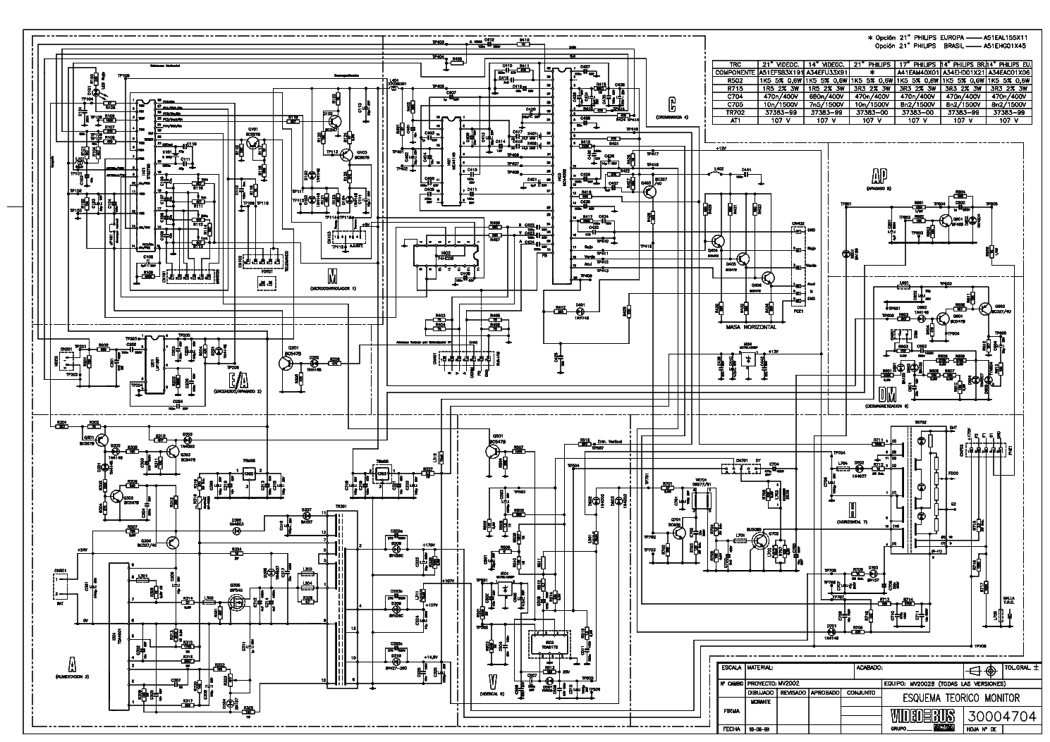 Actia Mv2002 Crt Monitor Sch Service Manual Download  Schematics  Eeprom  Repair Info For