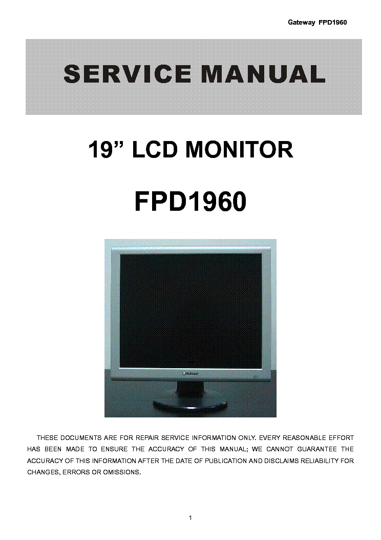 Gateway manual 11 array gateway fpd1960 lcd monitor service manual service manual download rh elektrotanya com fandeluxe Images