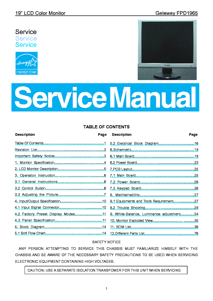 gateway fpd1965 lcd monitor service manual service manual download rh elektrotanya com gateway laptop repair manual gateway nv59 repair manual