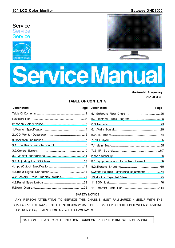 Gateway Xhd3000 Lcd Monitor Service Manual Service Manual Download  Schematics  Eeprom  Repair