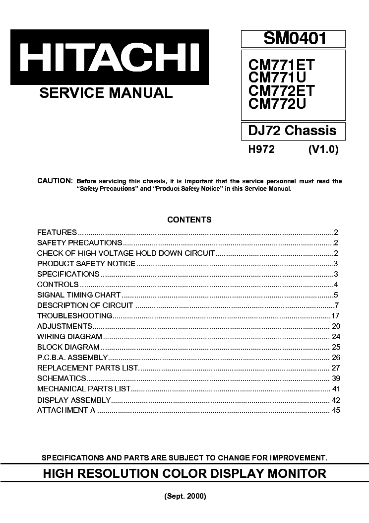 Hitachi Cm771 Cm772 Chassis Dj72 Sm Service Manual Download  Schematics  Eeprom  Repair Info For
