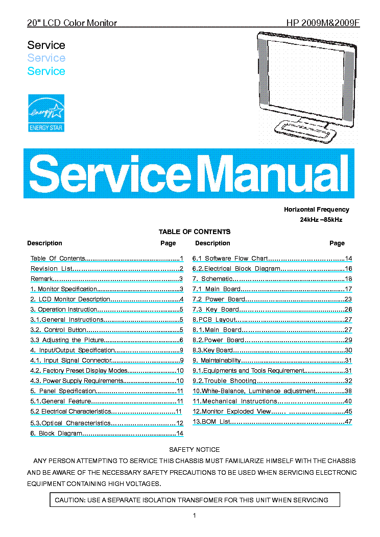 Hp 2009m 2009f Lcd Monitor Service Manual Service Manual Download  Schematics  Eeprom  Repair