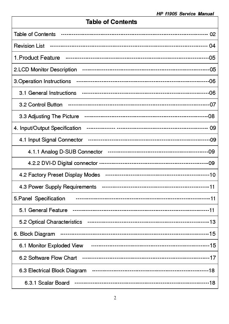 Hp F1905 Lcd Monitor Service Manual Service Manual