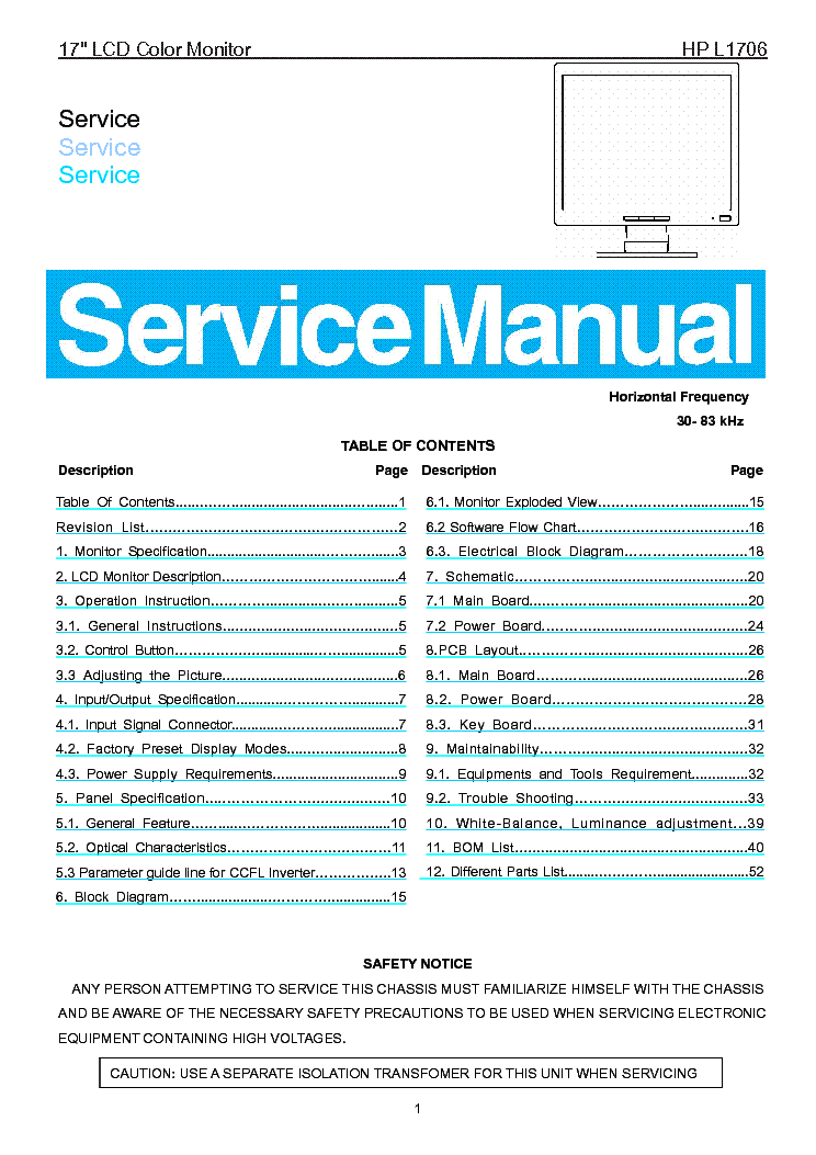 HP L1706 SM service manual (1st page)