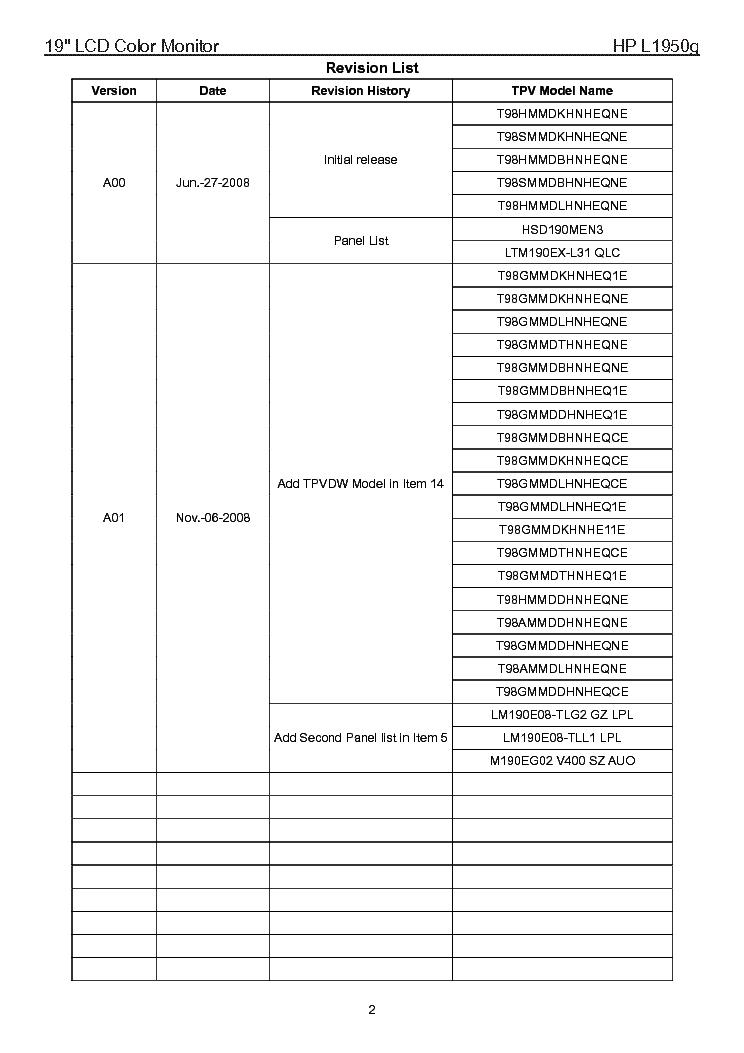 Hp L1950g Lcd Monitor Service Manual Download  Schematics