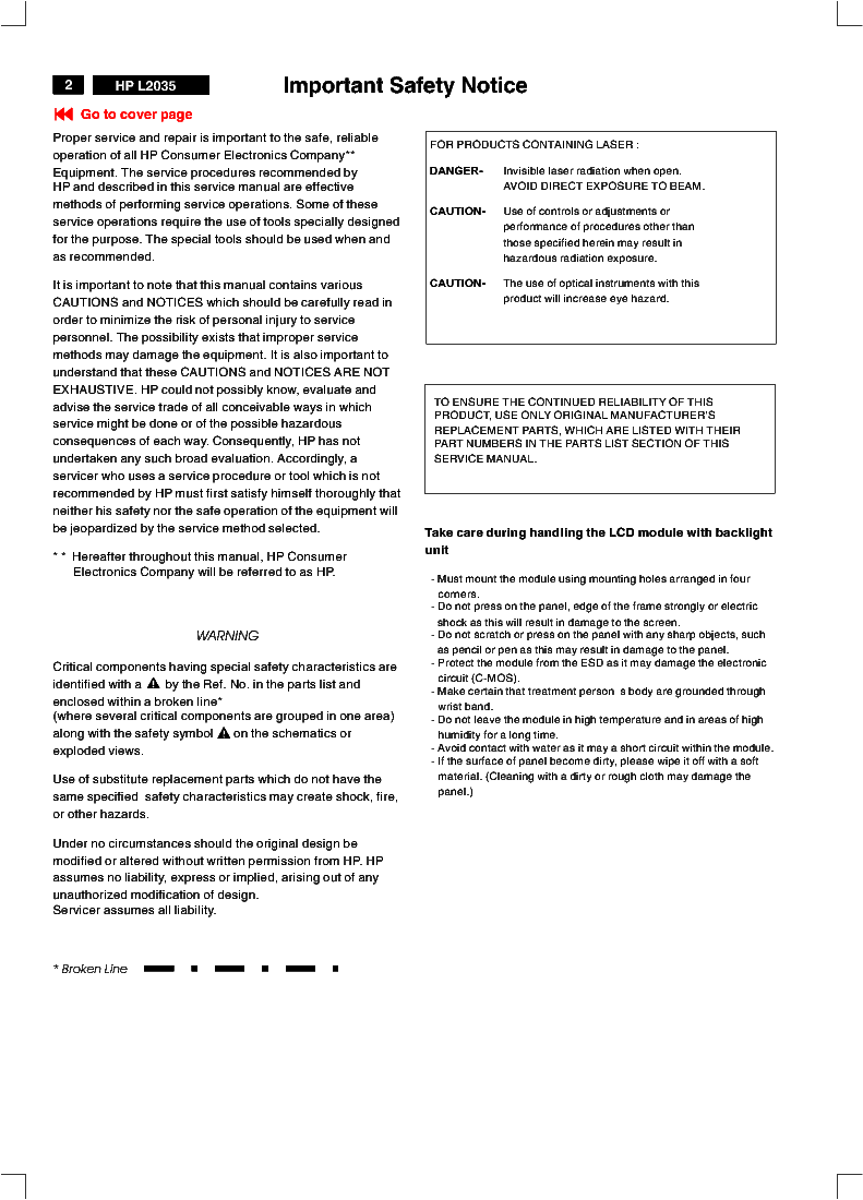 HP L2035 service manual (2nd page)