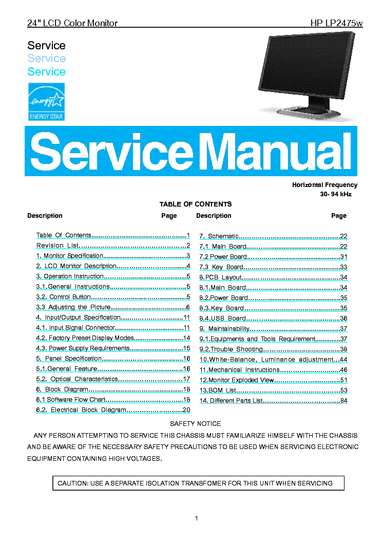 Hp Lp2475w Lcd Monitor Sm Service Manual Download  Schematics  Eeprom  Repair Info For