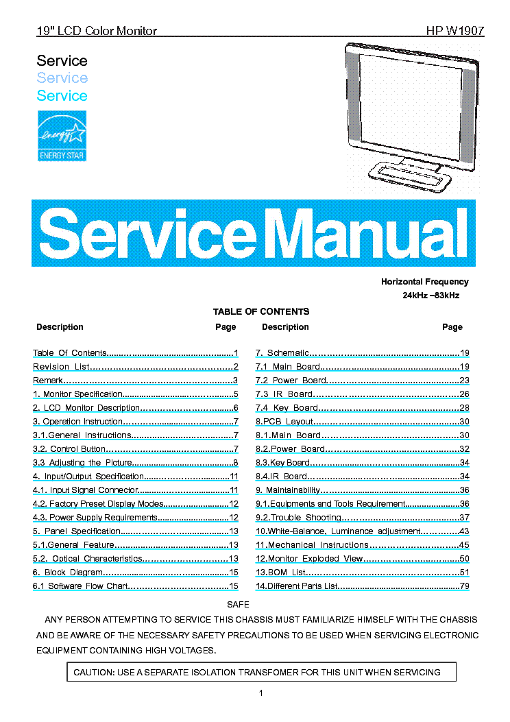 Hp w1907 service manual download, schematics, eeprom, repair info.