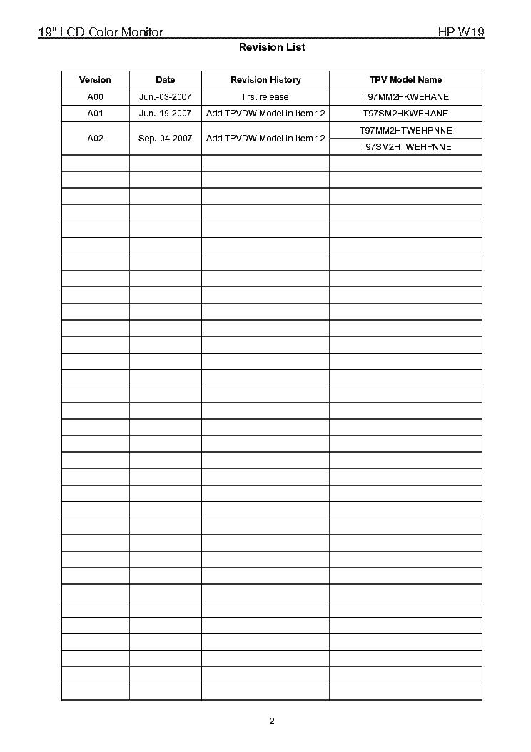 Hp W19 Lcd Monitor Service Manual Service Manual Download
