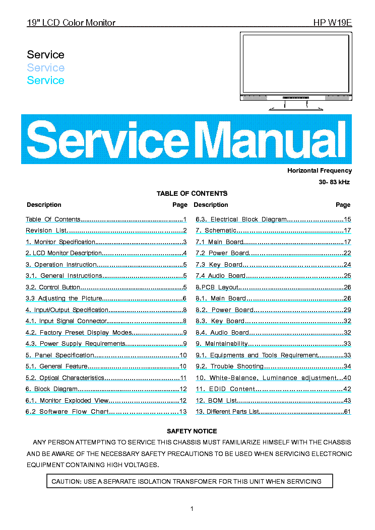 hp w1907 service manual download schematics eeprom repair info rh elektrotanya com HP W1907 Unboxing hp w1907 lcd monitor service manual