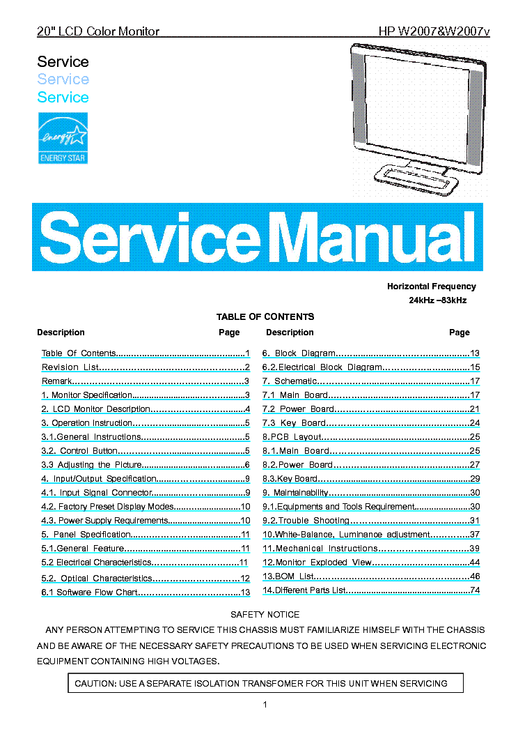 hp w2007 w2007v sm service manual download schematics eeprom rh elektrotanya com HP W2007 Drivers HP W2007 Speakers