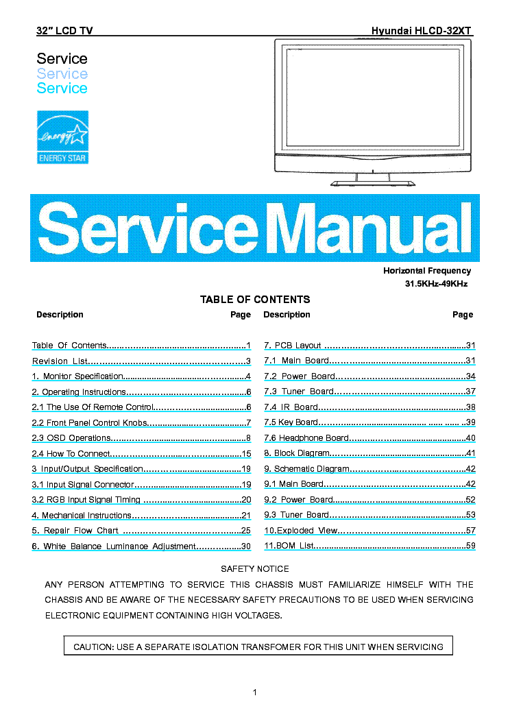 Hyundai B70a B71a B90a B91a M17a M17b Service Manual