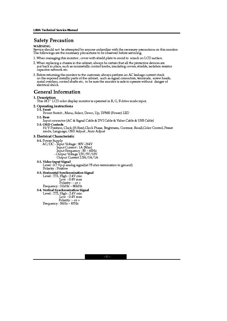 Hyundai L80a Monitor Sm Service Manual Download