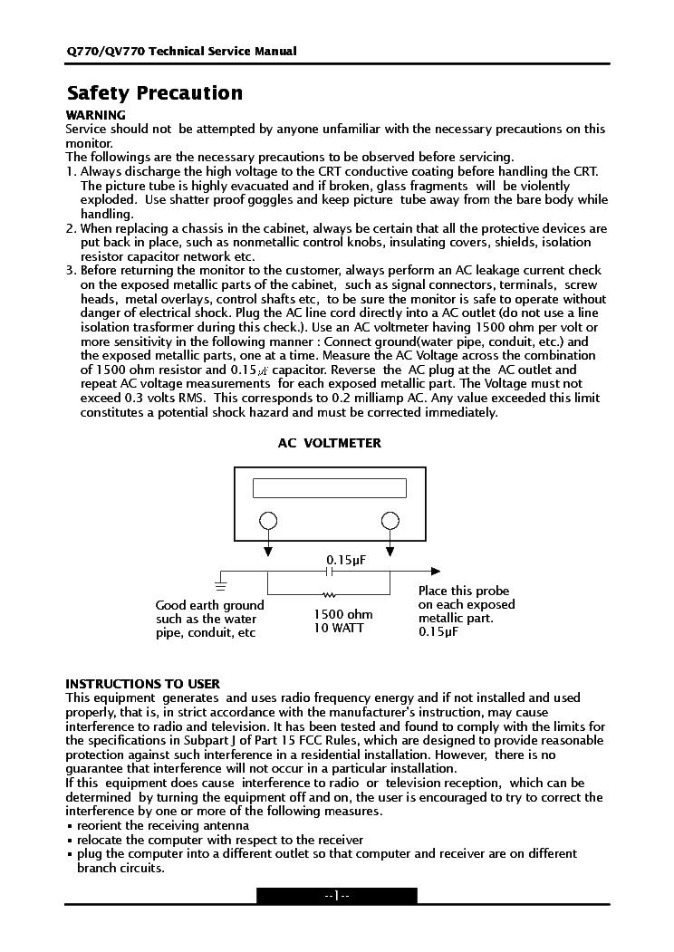 Hyundai Q770 Qv770 Monitor Sm Service Manual Download