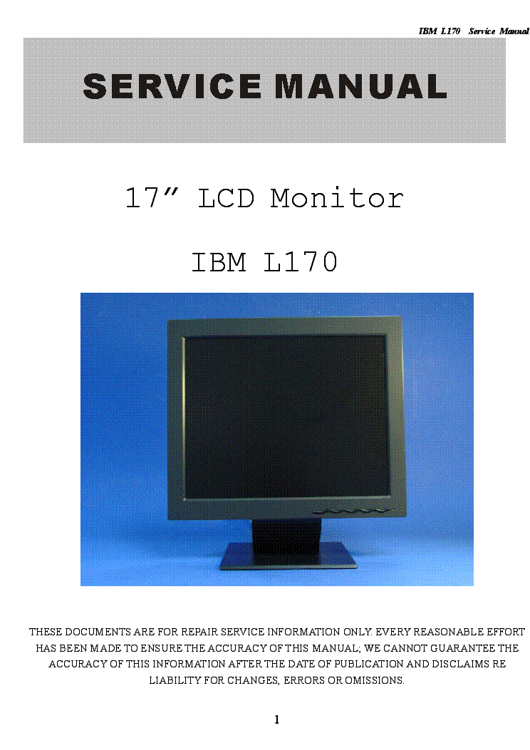 ibm l170 lcd monitor sm service manual download schematics eeprom rh elektrotanya com ibm thinkvision monitor service manual ibm crt monitor service manual