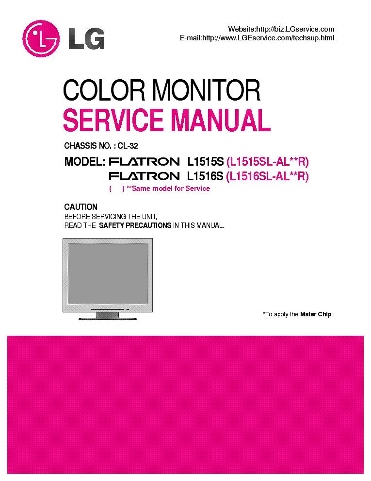 LG FLATRON L1515S L1516S CHASSIS CL-32 SCH Service Manual download
