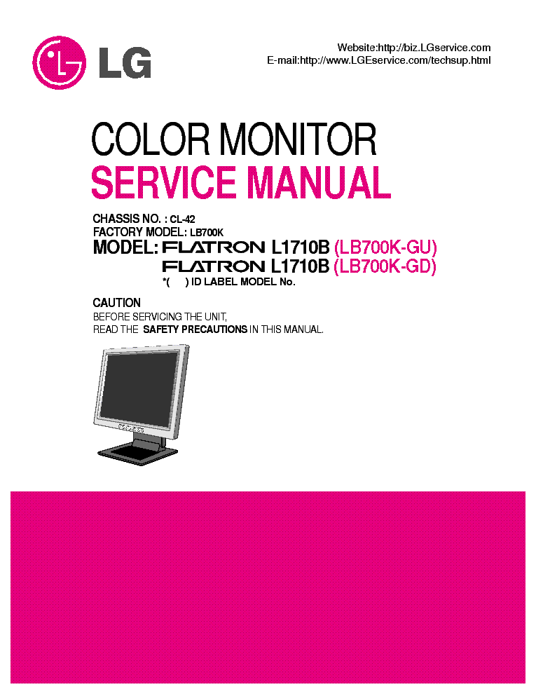 lg flatron l1710b sm repair guide service manual download. Black Bedroom Furniture Sets. Home Design Ideas