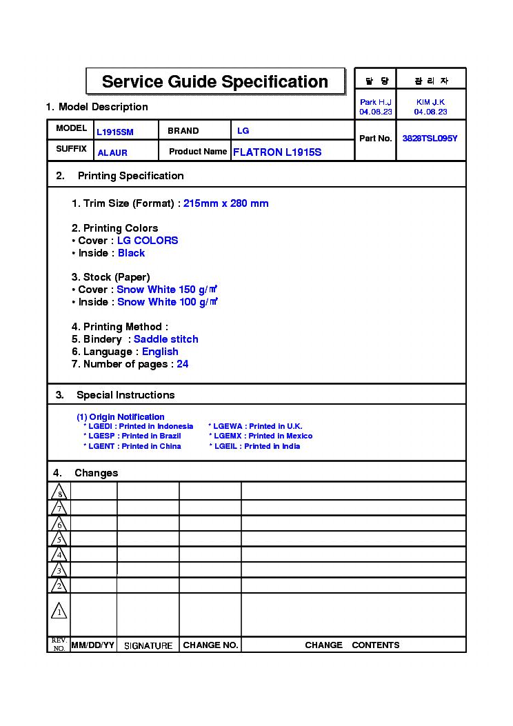 Lg Flatron L1510s Service Manual