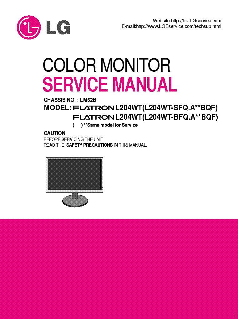 lg flatron l204wt lm62b sm service manual download schematics rh elektrotanya com LCD Computer Monitor LG LCD Screen