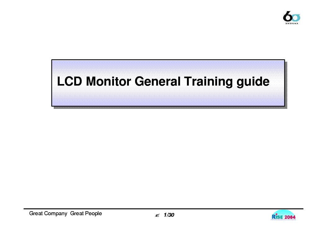 Lg Lcd Monitor General Training Manual Service Manual Download  Schematics  Eeprom  Repair Info