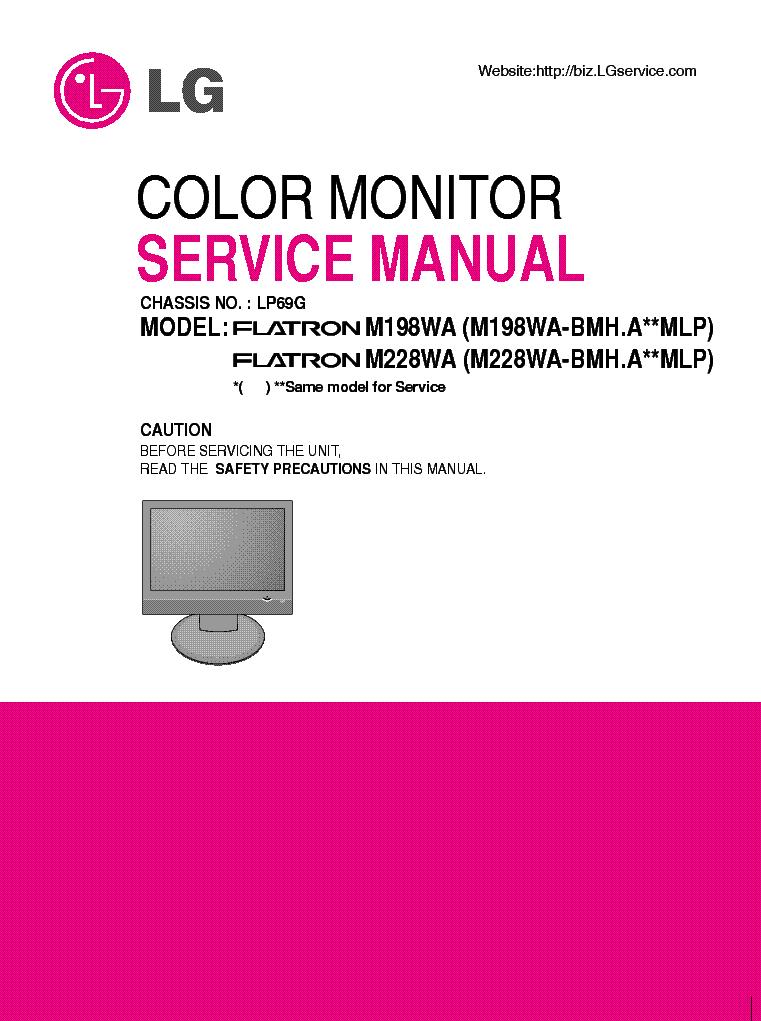 lg m198wa m228wa chassis lp69g sm service manual download rh elektrotanya com lg ips led monitor owner's manual lg monitor service manual