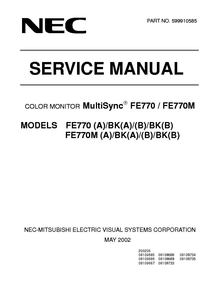nec fe770 770m crt monitor service manual download schematics rh elektrotanya com Service Station Service Station