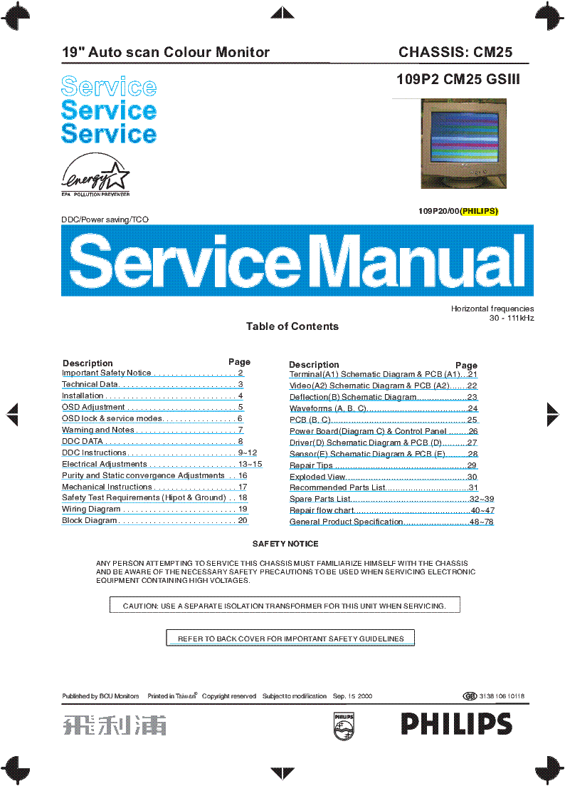 Philips 109p20 Chassis Cm25 Gsiii Service Manual Download Block Diagrams Of Electronic Equipments Electronics Repair And 1st Page