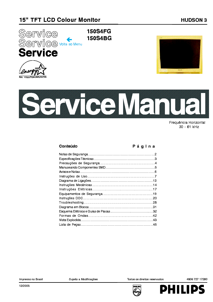 PHILIPS 150S4FG BG LCD service manual (1st page)